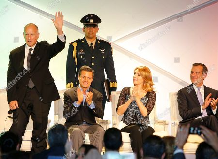 Jerry Brown, Enrique Pena Nieto, Angelina Rivera Mexico's President Enrique Pena Nieto, and his wife Angelica Rivera applaud California Gov. Jerry Brown, far left, during a meeting with members of Mexican communities in Los Angeles, . Far right, Los Angeles Mayor Eric Garcetti