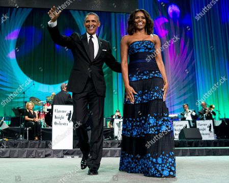 """Barack Obama, Michelle Obama President Barack Obama and first lady Michelle Obama arrive at the Congressional Black Caucus Foundation's 45th Annual Legislative Conference Phoenix Awards Dinner at the Walter E. Washington Convention Center in Washington, where the president spoke about the challenges facing black women, particularly in the areas of education, employment and criminal justice. The new film, """"Southside With You,"""" directed by Richard Tanne, takes a fictionalized look back at 1989 when Barack Obama and Michelle Robinson fell in love. The movie is included in the U.S. Dramatic Competition at the 2016 Sundance Film Festival"""