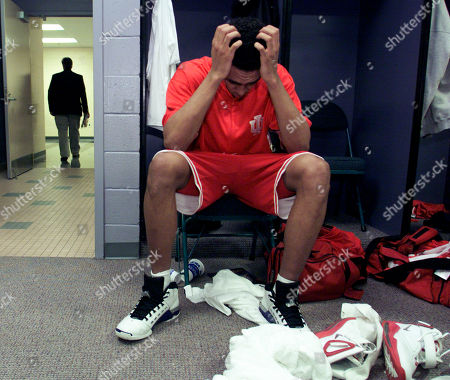 JEFFRIES Indiana foward Jared Jeffries reacts in the locker room after Maryland beat Indiana 64-52 in the NCAA championship game in the Georgia Dome in Atlanta