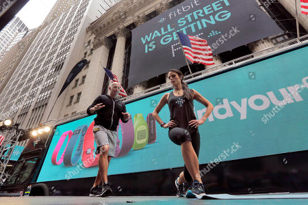 Harley Pasternak, Jordana Brewster Fitness expert Harley Pasternak and actress Jordana Brewster lead a work out, on behalf of Fitbit, in front of the New York Stock Exchange, . Fitbit flexed some muscle Thursday and its shares rocketed 50 percent higher in the first day of trading for the fitness tracking gear maker