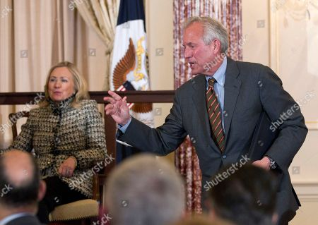 Hillary Rodham Clinton, James McNerney Boeing Company Chairman, President, and CEO W. James McNerney, Jr. and Secretary of State Hillary Rodham Clinton attend the first-ever State Department hosted Global Business Conference, at the State Department in Washington