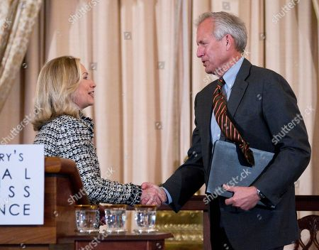 Hillary Rodham Clinton, James McNerney Secretary of State Hillary Rodham Clinton greets Boeing Company Chairman, President, and CEO W. James McNerney, Jr. during the first-ever State Department Global Business Conference, at the State Department in Washington