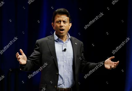 Stock Image of Bobby Jindal Republican presidential candidate Louisiana Gov. Bobby Jindal, addresses the Sunshine Summit in Orlando, Fla