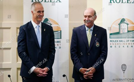 Stan Smith, Todd Martin International Tennis Hall of Fame CEO Todd Martin, left, and president Stan Smith stand together before a news conference introducing the 2015 inductees to International Tennis Hall of Fame in Newport, R.I