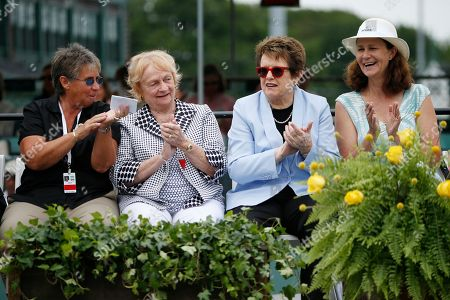 From left, Rosie Casals, Peachy Kellmeyer, Billie Jean King, Pam Shriver From left, Rosie Casals, Peachy Kellmeyer, Billie Jean King and Pam Shriver during the induction ceremony at the International Tennis Hall of Fame in Newport, R.I