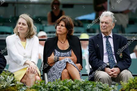 Stock Image of Jane Brown Grims, Gigi Fernandez, Vic Seixas From left, Jane Brown Grims, Gigi Fernandez, Vic Seixas during the induction ceremony at the International Tennis Hall of Fame in Newport, R.I