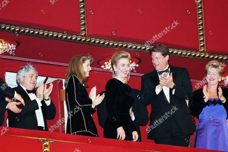 First lady Hillary Rodham Clinton is introduced as, from left, Caroline Kennedy Schlossberg, Vice President Al Gore and his wife Tipper applaud, prior to the beginning of the Kennedy Center Awards show at the Kennedy Center in Washington, . Songwriter Pete Seeger, director Harold Prince, composer Morton Gould, singer Aretha Franklin, and actor Kirk Douglas were honored as recipients of the Kennedy Center Honors of 1994