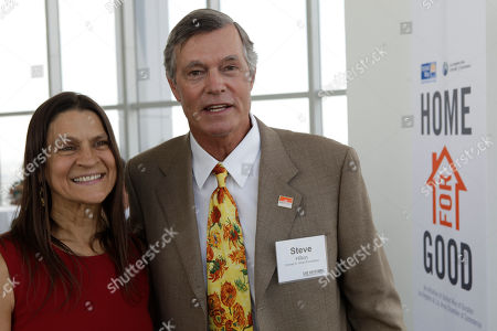 Aileen Getty, Steven Hilton Aileen Getty, left, with the Gettlove Foundation and Steven Hilton, President and CEO of the Conrad Hilton Foundation pose for a photo after announcing that more than1,000 chronically homeless people will be taken off the streets of Southern California and given permanent shelter under a $105 million program announced Thursday in Los Angeles . The Collaborative program is part of the Home for Good campaign, a partnership of over 20 public and private funders, which have pooled together $105 million in resources for permanent supportive housing