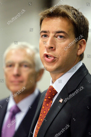 Alexi Giannoulias, Wesley Clark Democratic Senate candidate Alexi Giannoulias talks to reporters at a news conference in Chicago, as he has picked up a top military endorsement from retired Army Gen. Wesley Clark, left. Giannoulias and Clark spoke to reporters at a Carbon Day Automotive location in Chicago. The company runs charging stations for electric cars