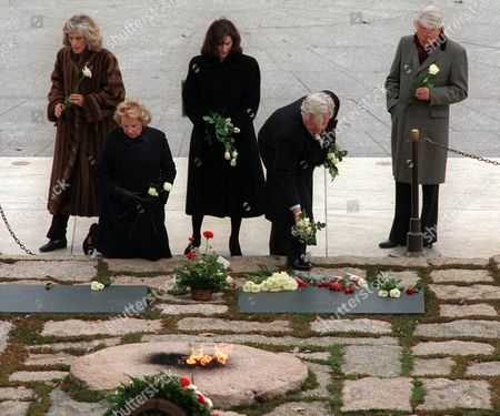 KENNEDY SHRIVER With the Eternal Flame burning in the foreground, Kennedy family members pause on the 33rd anniversary of President John F. Kennedy's assassination at the gravesite of the president and his wife Jacqueline at Arlington National Cemetery in Arlington, Va., . From left are, Eunice Kennedy Shriver, Ethel Kennedy, wife of the late Robert F. Kennedy, Vicky Kennedy, wife of Sen. Edward Kennedy, D-Mass., Sen. Kennedy, and R. Sargent Shriver
