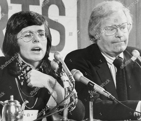 """Billie Jean King talks to reporters at the news conference where she announced she will join ABC-TV as a commentator. At right is Roone Arledge, president of ABC Sports. She said she plans to hold on to the top spot she now occupies in women's tennis. """"I can still be No. 1,"""" she said. """"I will admit it won't be easy"""