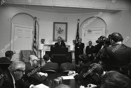 DONE President Lyndon Johnson at a White House news conference, announced the resignation of Alexander B. Trowbridge as Secretary of Commerce. The president said he has picked C.R. Smith, chairman of the board of American Airlines, to succeed Trowbridge. The president also expressed complete confidence in Gen. William C. Westmoreland as U.S. commander in Vietnam. Standing next to Johnson is White House Press Secretary George Christian and at right is Robert Fleming, deputy press secretary