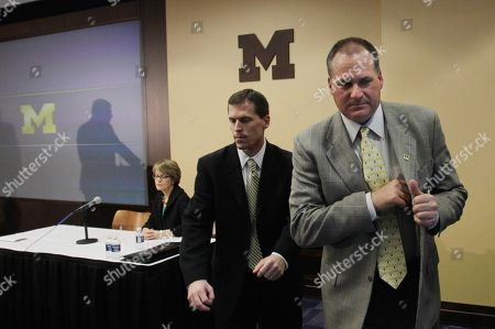 Rich Rodriguez Michigan head football coach Rich Rodriguez leaves the news conference in Ann Arbor, Mich., after addressing the media on NCAA violation infractions. From left are Athletic Director Dave Brandon, reflected in shadow, President Mary Sue Coleman, Associate Athletic Director for football David Ablauf and Rodriguez.The NCAA on Thursday handed Michigan a third year of probation for practice and training violations, declining to sharply punish Rodriguez or his program for an embarrassing problem that cropped up just a few days before last season