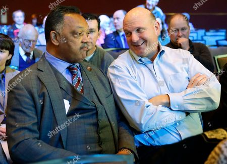 Jesse Jackson, Steve Ballmer Rev. Jesse Jackson, left, sits with former Microsoft CEO Steve Balmer, right, at Microsoft Corp.'s annual shareholders meeting, in Bellevue, Wash. Jackson later spoke at the meeting to urge Microsoft and other high tech companies to increase the hiring and training of minority tech workers and to improve the diversity of their boards of directors