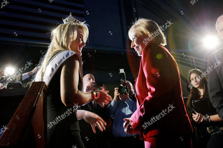 Stock Picture of Lindsey Petrosh, Kim Guadagno Miss New Jersey for 2012 in the Miss America pageant, Lindsey Petrosh, left, of Egg Harbor City, N.J., talks with New Jersey Lt. Gov. Kim Guadagno Atlantic City's Boardwalk Hall., in Atlantic City, after Guadagno announced that the Miss America pageant is returning to Atlantic City. The pageant returns to Atlantic City in September after spending six years in Las Vegas
