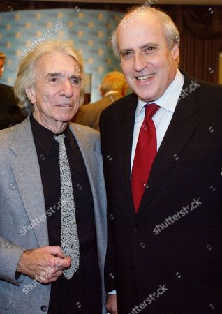 HILLER GLICKMAN Former President of the Academy of Motion Picture Arts and Sciences Arthur Hiller, left, and Dan Glickman, right, the new head of the Motion Picture Association of America, pause for a photo, at the Los Angeles World Affairs Council at a hotel in Beverly Hills, Calif