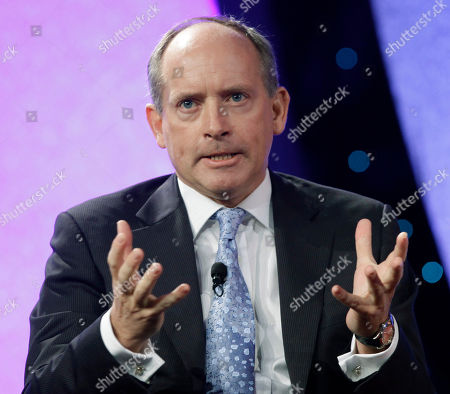 Stock Photo of Ian Cheshire, Group Chief Executive of Kingfisher PLC, speaks at the National Retail Federation annual convention, in New York