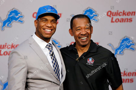 Eric Ebron, Charlie Sanders Detroit Lions NFL football first round draft choice, 10th overall, North Carolina tight end Eric Ebron, left, poses with Hall of Fame tight end Charlie Sanders during an NFL football news conference in Allen Park, Mich