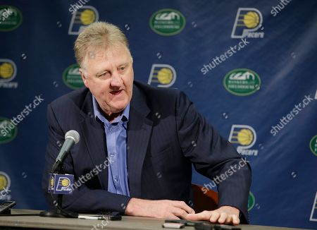 Larry Bird Indiana Pacers President of Basketball Operations Larry Bird speaks during a news conference, in Indianapolis