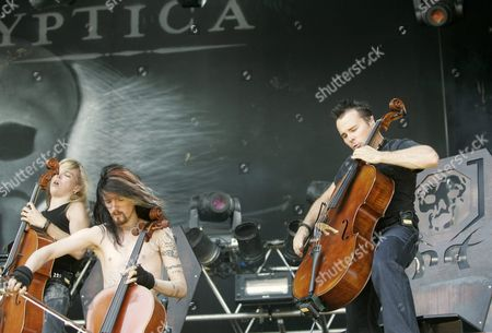 Apocalyptica - Eicca Toppinen, Perttu Kivilaakso and Paavo Lotjonen performing - 08 Jul 2006