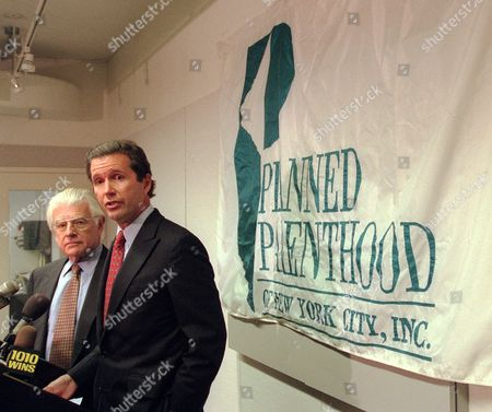Stock Photo of HAUSKNECHT SANGER President of Planned Parenthood Alexander Sanger, center, and Dr. Richard Hausknecht conduct a news conference on drug-induced abortions in New York, . The Planned Parenthood Federation of America will offer drug-induced abortions in an experimental program beginning this month. The Food and Drug Administration has approved the program, limited to 3,000 women, as part of a study on the abortion procedure