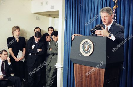 Bill Clinton, Dee Dee Myers, Mark Gearan, George Stephanopoulos, Rahm Emanuel President Bill Clinton's aides look on during his news conference in the White House briefing room in Washington on . Front row, from left, are, White House Press Secretary Dee Dee Myers, Communications Director Mark Gearan, senior aide George Stephanopoulos and Deputy Communications Director Rahm Emanuel. Back row are unidentified aides