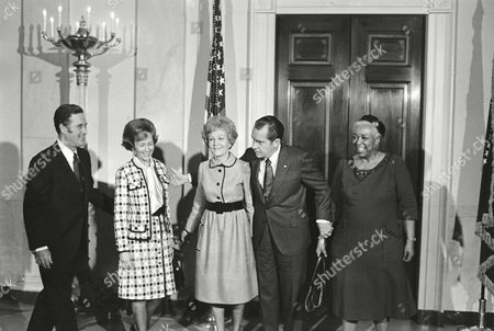 Richard Nixon, Pat Nixon, Ethel Waters, Eugene Goffin President Richard Nixon and Mrs. Pat Nixon line up with their guests after a White House church service in Washington, that featured gospel singer Ethel Waters, right. With them are Eugene T. Goffin and his wife. Goffin, who conducted the service, is minister of Nixon's Quaker church in Whittier, California