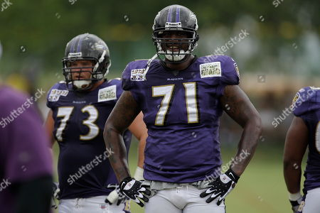 Jared Gaither Baltimore Ravens offensive tackle Jared Gaither during drills at the NFL football team's training camp, in Westminster, Md