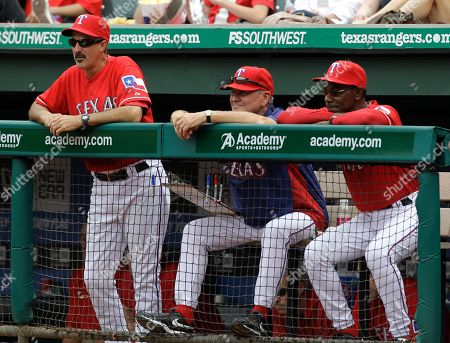 Mike Maddux, Jackie Moore, Ron Washington Texas Rangers pitching coach Mike Maddux, from left, bench coach Jackie Moore, and manager Ron Washington, right, during a baseball game against the Kansas City Royals, in Arlington, Texas. The Rangers defeated the Royals 8-7
