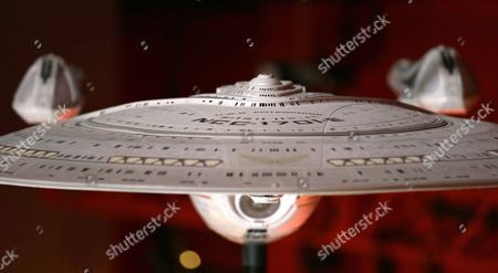 """Stock Picture of A model of the USS Enterprise (NCC-1701-E), that was led by Capt. Jean-Luc Picard, portrayed by Patrick Stewart, is displayed in the exhibit """"Star Trek: Exploring New Worlds,"""" as part of a 50th anniversary celebration of the Star Trek franchise at the EMP Museum, in Seattle. The exhibit opens on Saturday"""
