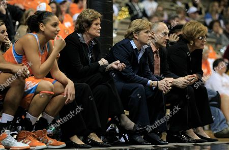 Pat Summitt, Holly Warlick, Dean Lockwood, Kathy Harston Tennessee head coach Pat Summitt, fourth from right, watches with her staff in the second half of an NCAA basketball game against Vanderbilt, in Nashville, Tenn. Vanderbilt upset Tennessee 93-79. With Summitt are associate head coach Holly Warlick, third from right; assistant coach Dean Lockwood, second from right; and Kathy Harston, basketball operations director, right