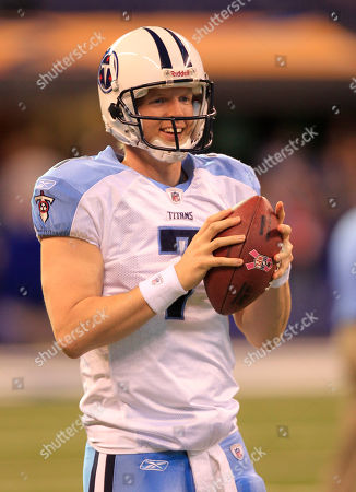 Stock Picture of Chris Simms Tennessee Titans quarterback Chris Simms throws before the start of an NFL football game against the Indianapolis Colts in Indianapolis