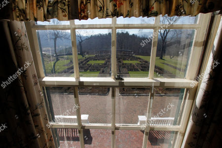 A view out the window of the Robert Todd Lincoln mansion Hildene on in Manchester, VT. The Georgian Revival home was built in 1905 by Robert Todd Lincoln, the only one of the president's four children to survive to adulthood