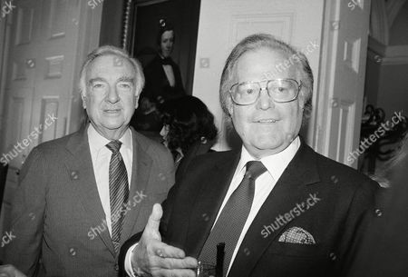 """Watchf Associated Press Domestic News New York United States APHS58062 WALTER CRONKITE Walter Cronkite, left, who retires as anchorman on the CBS """"Evening News"""", stands next to Roone Arledge, president of ABC news and sports, during a reception in honor of Cronkite in New York. Arledge said, """"Cronkite has been an absolute giant, and all of us in the business owe him a great deal"""