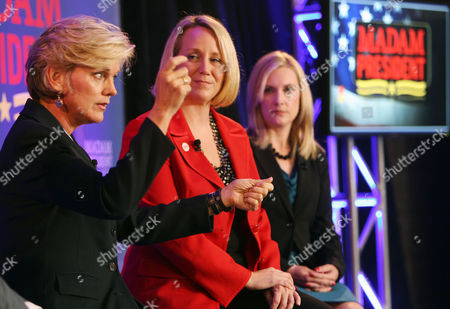 """Former Michigan Gov. Jennifer Granholm, left, speaks at an Emily's List town hall discussion entitled """"Madam President"""" with the organization president Stephanie Schriock, center, and moderator Tiffany Eddy on in Manchester, N.H. The group is encouraging women to run for office, including the office of president"""