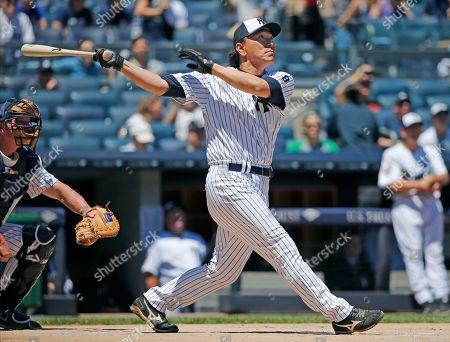 Hideki Matsui New York Yankees World Series MVP Hideki Matsui hits a two-run, home run off former Yankees pitcher David Cone during the Yankees annual Old Timers Day baseball game, in New York