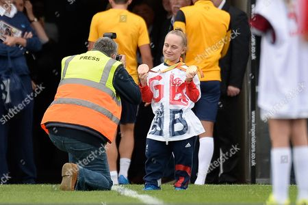 Stock Photo of GB Paralymic  gold medal winning swimmer Ellie Robinson during the EFL Sky Bet League 1 match between Northampton Town and Southend United at Sixfields Stadium, Northampton