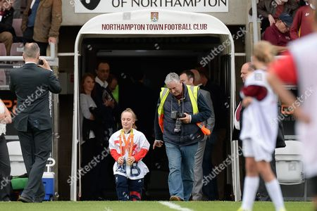 Stock Image of GB Paralymic  gold medal winning swimmer Ellie Robinson during the EFL Sky Bet League 1 match between Northampton Town and Southend United at Sixfields Stadium, Northampton