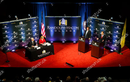 Jack Trammell, Dave Brat Democrat Jack Trammell, right, gestures during a debate with Republican Dave Brat, at podium left, at Randolph-Macon College in Richmond, Va., . The two candidates are running for the 7th district Congressional seat once held by Eric Cantor