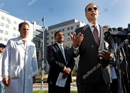 """Stock Picture of Zachary Rubin, Robert Cherry, David Feinberg Dr. David Feinberg, president, UCLA Health System, right, takes questions from the media outside the Ronald Reagan UCLA Medical Center in Los Angeles . Health officials at the news conference sought to reassure the public that a """"superbug"""" bacterial outbreak at the local hospital doesn't pose any threat to public health. A day earlier, UCLA officials said nearly 180 patients at Ronald Reagan UCLA Medical Center had been exposed to antibiotic-resistant bacteria called CRE. At left, is Dr. Zachary Rubin, medical director of clinical epidemiology and infection prevention and at center is Dr. Robert Cherry, chief medical and quality officer, UCLA Health System"""