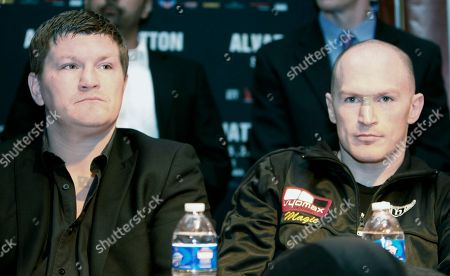 """Matthew """"Magic"""" Hatton of Great Britain, right, and his brother and Hatton Promotions president Ricky Hatton, wait to speak during a press conference to promote their upcoming boxing match against Saul """"Canelo"""" Alvarez of Mexico, not shown, for the vacant WBC super welterweight world title, in Los Angeles . The bout will be the main event on a joint Golden Boy-R&R promotion at Honda Center in Anaheim, Calif., Saturday, March 5"""