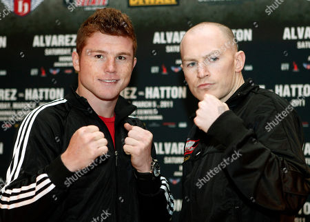 """Saul """"Canelo"""" Alvarez, left, of Mexico, and Matthew """"Magic"""" Hatton of Great Britain, pose during a news conference in Los Angeles, to promote their upcoming boxing match for the vacant WBC super welterweight world title. The bout will be the main event on a joint Golden Boy-R&R promotion at Honda Center in Anaheim, Calif., on Saturday, March 5"""
