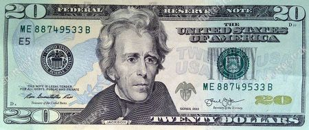 Twenty dollars, twenty dollar; $20 This April 17, 2015 shows the front of the U.S. $20 bill, featuring a likeness of Andrew Jackson, seventh President of the United States, in Boston. Former Federal Reserve chief-turned blogger Ben Bernanke on called for the U.S. Treasury to abandon plans to drop Andrew Hamilton from his featured spot on the $10 bill and to dump Andrew Jackson from the $20 instead