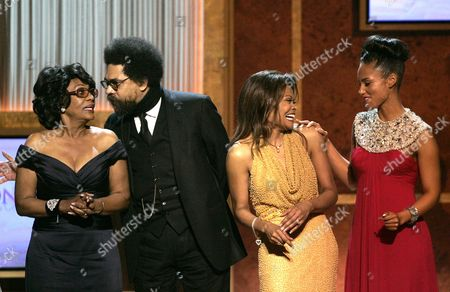 Stock Photo of Maxine Waters, Cornel West, Janice Bryant Howroyd, Alicia Keys The BET Honorees. left to right: Maxine Waters, D-Calif., Dr. Cornel West, Janice Bryant Howroyd and Alicia Keys celebrate on stage at the conclusion of the awards show in Washington . The show honors the achievements of distinguished African American leaders