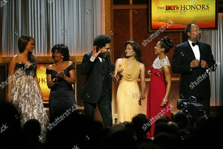 Tyra Banks, Maxine Waters, Cornel West, Janice Bryant Howroyd, Alicia Keys, Richard Parsons The BET Honorees. left to right: Tyra Banks, Rep. Maxine Waters, D-Calif., Dr. Cornel West, Janice Bryant Howroyd, Alicia Keys and Richard Parsons celebrate on stage at the conclusion of the awards show in Washington . The show honors the achievements of distinguished African American leaders