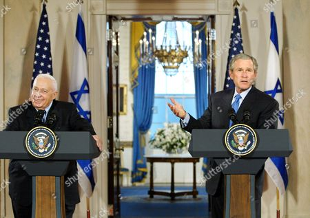 BUSH SHARON President Bush welcomes Israel's Prime Minister Ariel Sharon to make a joint statement to reporters at the White House in Washington