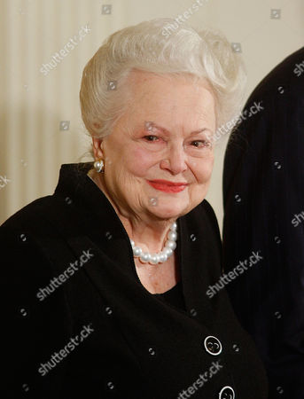 Olivia de Havilland Actress Olivia de Havilland is seen in the East Room of the White House in Monday, Nov.17, 2008, while being presented with the National Medal of Arts by President George W. Bush, not shown