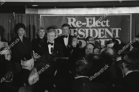 President Jimmy Carter addresses a Democratic National Committee fund raising dinner in New York, . Backing Carter up are, from left, Bess Myerson, Pat Lawford, Sen. Edward Kennedy (D-Mass.) and former New York City Mayor Abraham Beame