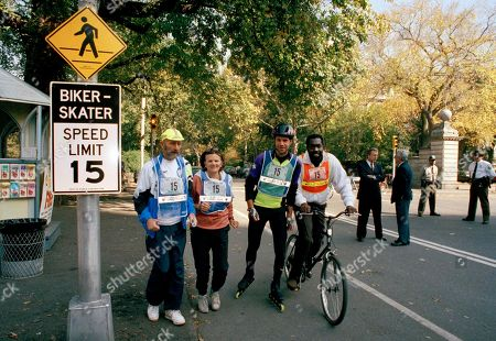 Fred Lebow, Betsy Gotbaum, Steven Novak, Earl Monroe Fred Lebow, president of the N.Y. Roadrunners Club, left, and Parks Commissioner Betsy Gotbaum, second left, run past one of the 48 speed limit signs to be installed in New York's Central Park, . Steven Novak, president of the Big Apple Rollerskaters Association, second right, and Earl Monroe, former Knicks star, right, are two of the many park visitors who will yield to the fifteen mph limit
