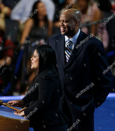 Maya Soetoro-ng, President Barack Obama's sister, and Craig Robinson, First Lady Michelle Obama's brother, speak at the Democratic National Convention in Charlotte, N.C., on